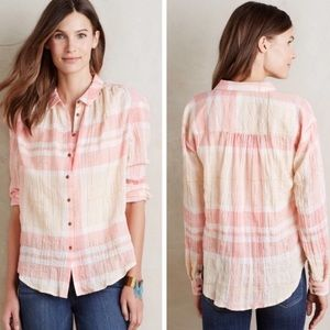 Holding Horses • Anthropologie • Peach Gold Blouse